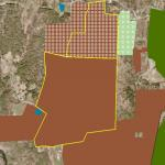 A close up view of Payne's land and adjoining protected properties, on top of an air photograph showing land use in the area.