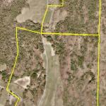 Payne's land, and the Shingle Hill tract that he leases to the north. Both outlined in yellow on an air photo of the land.