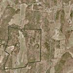 Payne's Foxbard farm land is outlined on this air photo.