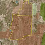 Payne's land, and Shingle Hill tract, both outlined on an air photo along with other protected land.