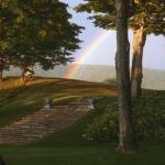 A rainbow over Ashintully Gardens