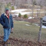 John Payne and the potential development site in the background.